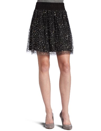 D.E.P.T. Women's Sequins Mesh Mini Skirt