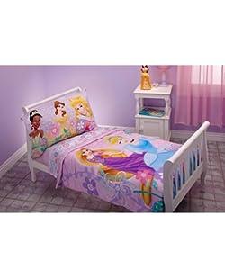 Amazon.com : Disney Princess 4 Piece Toddler Bedding Set ...