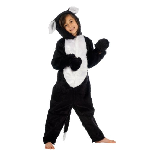 Black and White Cat Costume for Kids 6-8 Yrs