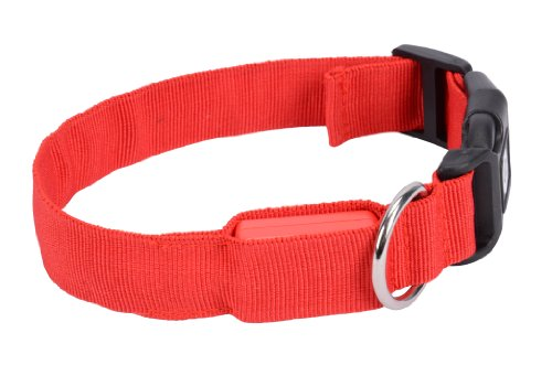 Nylon Red Led Dog Night Safety Collar Flashing Light Up Collar front-47983