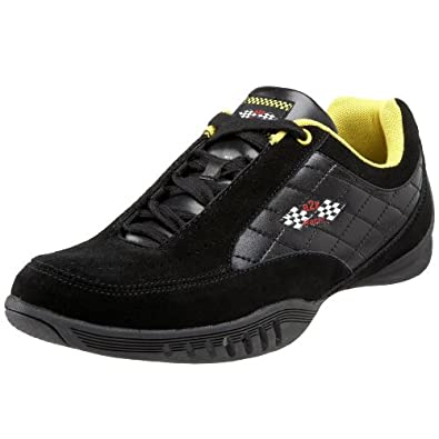 A2Z Racer Gear Men's AZ010Y Modena Driving Shoe,Black/Yellow,7 M US