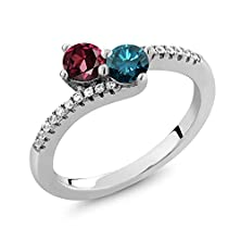 buy 1.52 Ct Round Red Rhodolite Garnet Blue Diamond 925 Sterling Silver Two Stone Ring