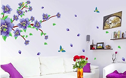 Nursery Wall Decals, Nursery Blue Flower Wall Decals XL, Nursery Wall Decor, Kids Room Wall Decals - 1