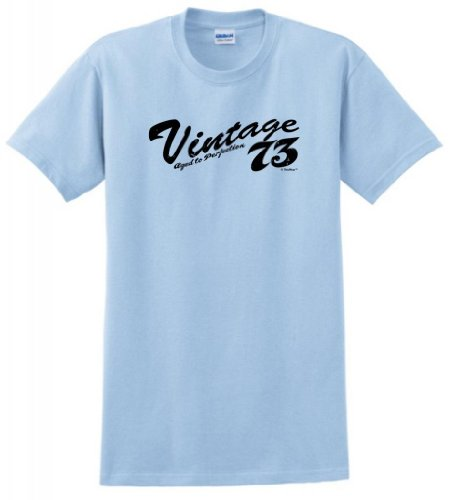Vintage 73 1973 Aged To Perfection Birthday T-Shirt Xl Lt. Blue front-963626