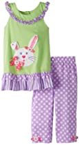 Rare Editions Girls 2-6X Bunny Applique Capri Set, Mint/Lilac, 3T