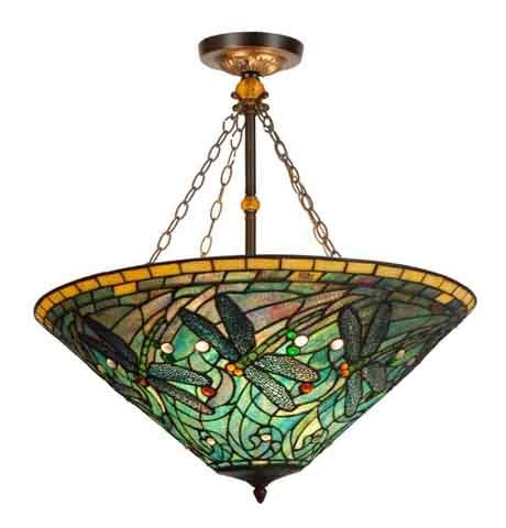 Marvelous  Stained Glass Tiffany Style Green Dragonfly Inverted Hanging Lamp Tiffany Style Dragonfly Inverted Hanging Lamp Nature and Beauty Come Together