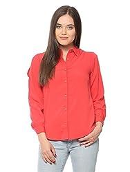 Vvoguish Coral Polycrepe Shirt