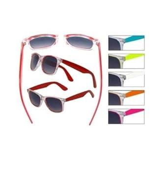 Wayfarer Clear Neon Sunglasses (Neon Orange, Orange Mirror)