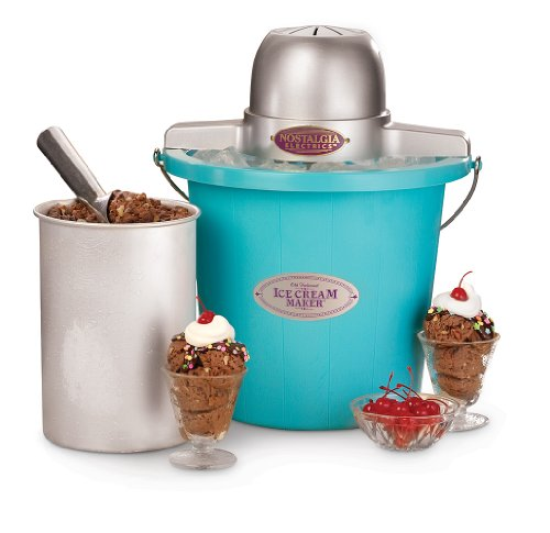 Nostalgia Electrics ICMP-400BLUE 4-Quart Plastic Bucket Ice Cream Maker, Blue
