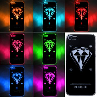 Diamond Sense Flash Light Up Case Cover For Apple Iphone 5 5G Led Lcd Color Changed Gift