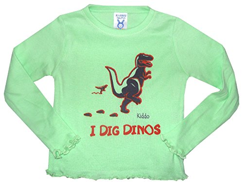 Kiddo Little Girl'S I Dig Dinos Long-Sleeved Shirt 5/6T Lime Green With Purple front-1047983