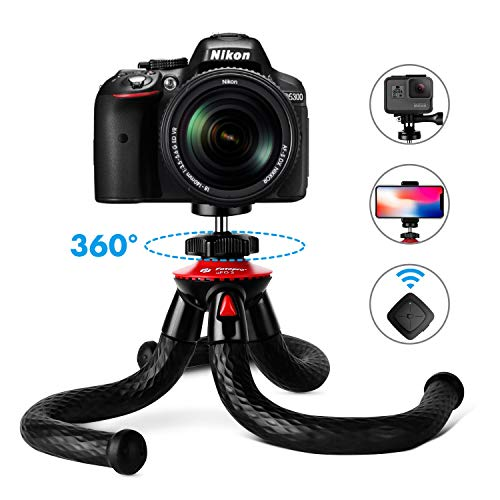 Fotopro 12 블루투스 장착 UFO 플렉시블 삼각대 Fotopro 12 Flexible Tripod with Bluetooth for iPhone X 8 Plus,Samsung S9, Waterproof and Anti-Crack Camera Tripod for GoPro, 360 Degree Spherical Camera for Time-L