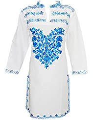 Indiatrendzs Women's White Fashionable Babydoll Blue Embroidered Long Kurta