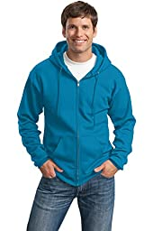 Port & Company Men\'s Classic Full Zip Hooded Sweatshirt 3XL Neon Blue