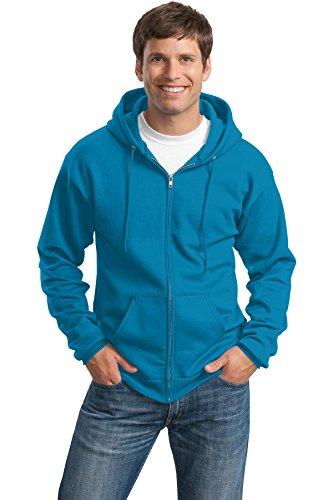 Port & Company Men's Classic Full Zip Hooded Sweatshirt L Neon Blue