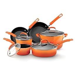 Rachael Ray Hard Enamel Nonstick 10-Piece Cookware Set, Orange Gradient