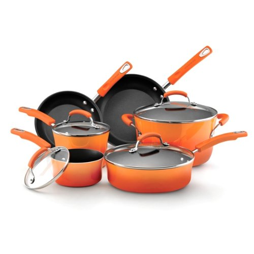 Rachael Ray Porcelain Enamel II Nonstick 10-Piece Cookware Set, Orange Gradient