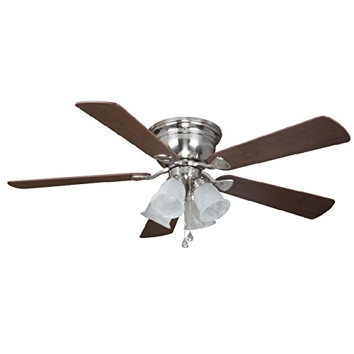 Harbor Breeze Centerville 52-in Brushed Nickel Flush Mount Indoor Ceiling Fan with Light Kit (Harbor Breeze 52 compare prices)