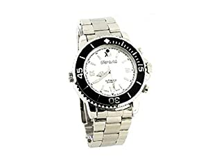 Generic 8GB High Definition Camera Video Recorder DVR Men's Waterproof White Watch Dial Wrist Watch (Silver)