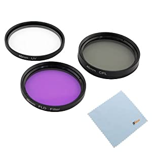 GTMax 46mm 3 Piece (UV-CPL-FLD) Filter Set with Bag + Cleaning Cloth for Panasonic Lumix DMC-FZ18 DMC-FZ18K and 20mm f/1.7 Lens (GF1 GF2 GF3 GF5)