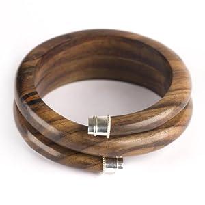 81stgeneration Cuff natural craft boho bangle 925 sterling silver wood brown bracelet