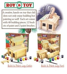 Roy Toy Real Wood Build & Paint Log Cabin