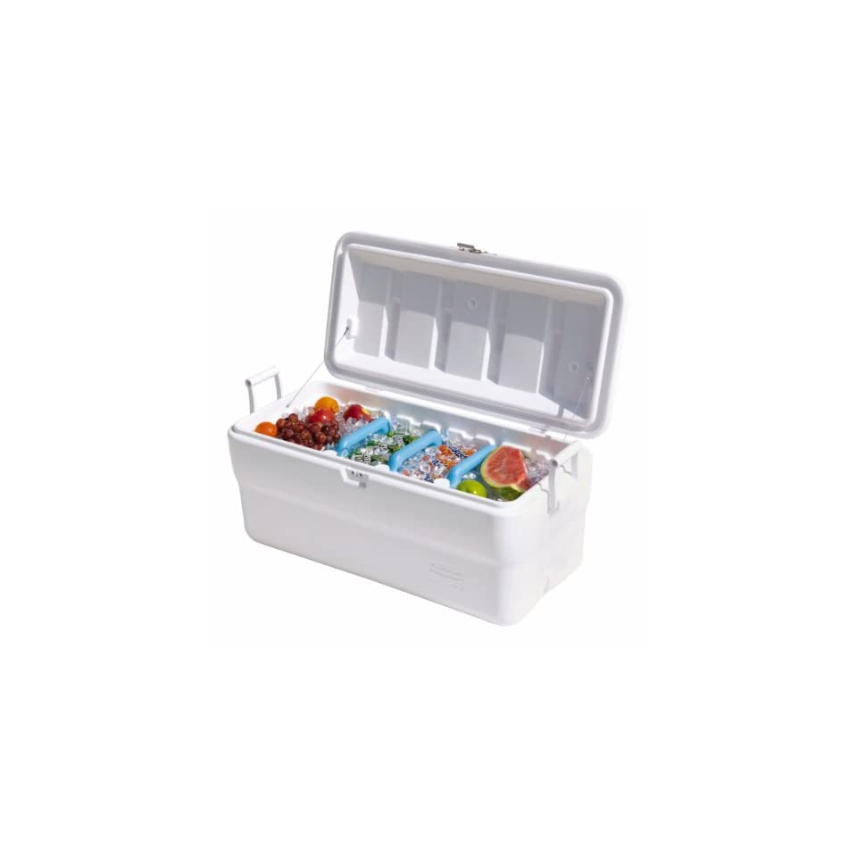 Rubbermaid Gott Marine Cooler / Ice Chest, 102 quart, White