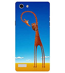 Chiraiyaa Designer Printed Premium Back Cover Case for Oppo Neo 7 (cartoon girraffe Monkey nature) (Multicolor)