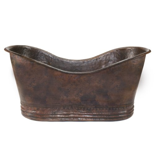 Premier Copper Products BTD67DB 67-Inch Hammered Copper Double Slipper Bathtub, Oil Rubbed Bronze