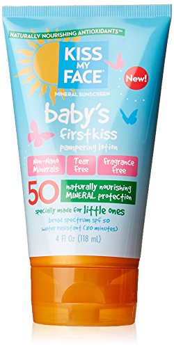 Kiss My Face Baby's First Kiss Mineral Lotion Sunscreen SPF 50, Tear-Free Sunblock for Kids, 4 Ounce - 1