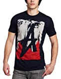 Altamont Men's Smeared Short Sleeve Tee, Navy/Red, Large