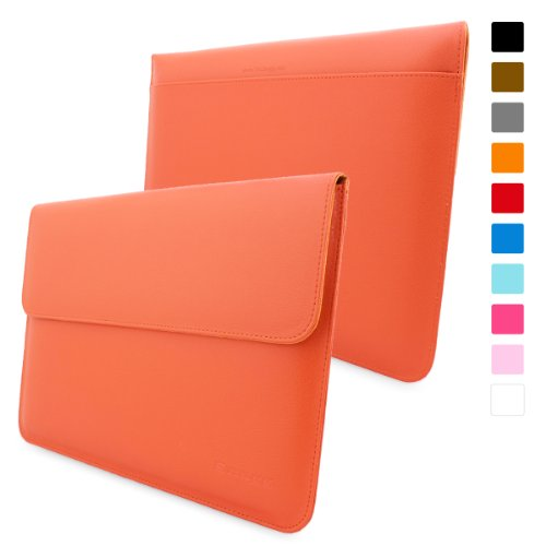 Snugg MacBook Air 13-inch & MacBook Pro 13-inch With Retina Leather Sleeve Case in Orange - High Quality Case with Card Slot, Pocket and Premium Nubuck Fibre Interior