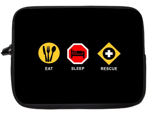 10 Inch Rikki Knighttm Eat Sleep Rescue Laptop Sleeve - Ideal For Ipad 2,3,4, Ipad Air, Galaxy Note, Small Notebooks And Other Tablets front-620336