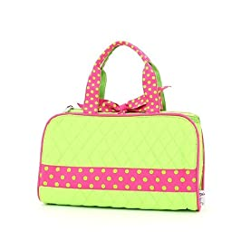 Belvah Quilted Solid 3pc Cosmetic Bag - Lime/Fuchsia