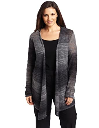 Pendleton Women's Fly Me To The Moon Ombre Cardigan Sweater, Grey Ombre Stripe, 3x