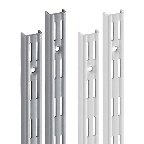 Wandschiene PRIMESLOT (2 Stück) | 2-reihig | 2 Dekore | 4 Längen | für Regalsystem, Regalträger | 495 mm - silber