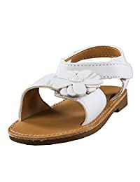 Solid Color Toddler Girl White Strap Sandals with Flower by Baby Deer