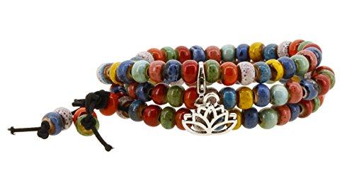 Tibetan Elastic 7mm Dyed Porcelain Prayer Beads Yoga Mala Wrap Bracelet with a Charm (Lotus)