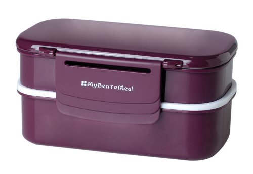 Mulberry by Genmert Double Stack Bento Box with Utensils, Eggplant