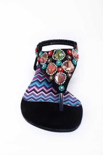 Ladies Jeweled Beaded Thong Flat Sandal Women Shoes no Heels Perfect Causal Beach evening Shoes