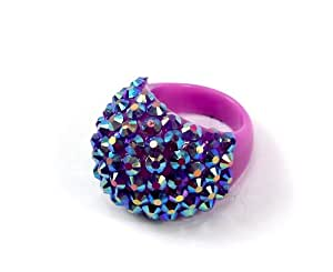 Beautiful!! Acrylic Ring with Reflective Details, One Size, Summer, Fun, Fashion (PURPLE)