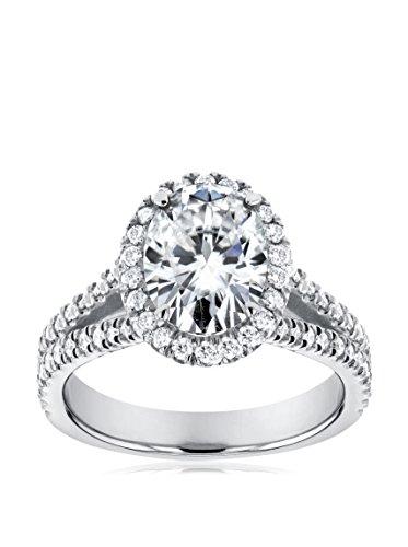 Kobelli 14K White Gold Oval-Cut Moissanite & Diamond Halo Split Shank Engagement Ring