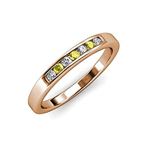 Yellow and White Diamond (SI2-I1, G-H) 7 Stone Wedding Band 0.35 ct tw in 14K Rose Gold.size 9