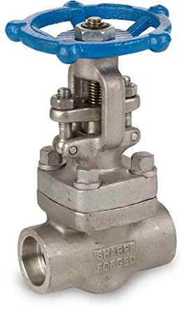 Sharpe Valves 34836 Series Stainless Steel 316L Gate Valve, Class 800, Outside Stem and Yoke, Inline, Hand Wheel, Socket Weld
