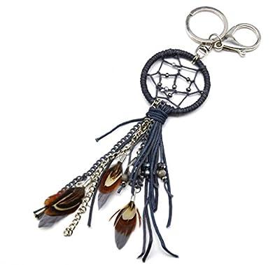 PT775D - Porte-Clés / Bijou de Sac - Petit Dreamcatcher Attrape Rêves Ethnique avec Multi Cordons Perles et Plumes Gris - Mode Fantaisie