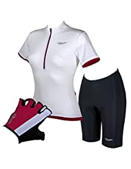 Trigirl Women's Cycling Velocity White Jersey,Padded Cadence Shorts And Cycling Gloves Set