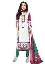 RK Fashion Womens Cotton Un-Stitched Salwar Suit Dupatta Material ( Rajguru-Ganpati-5003-White-Free Size )
