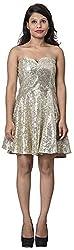 Izna Women's Slim Fit Dress (IDWD1006GLD-Small, Gold, Small)