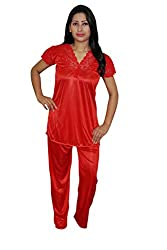 Indiatrendzs Women Night Suit Satin Red Top & Pajama Set Evening Wear