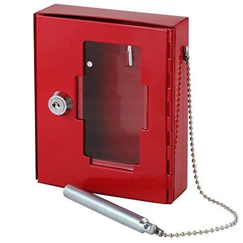 HMF 1021-03 Boîtier pour clé de secours avec marteau brise glace, 15 x 12 x 4 cm , rouge